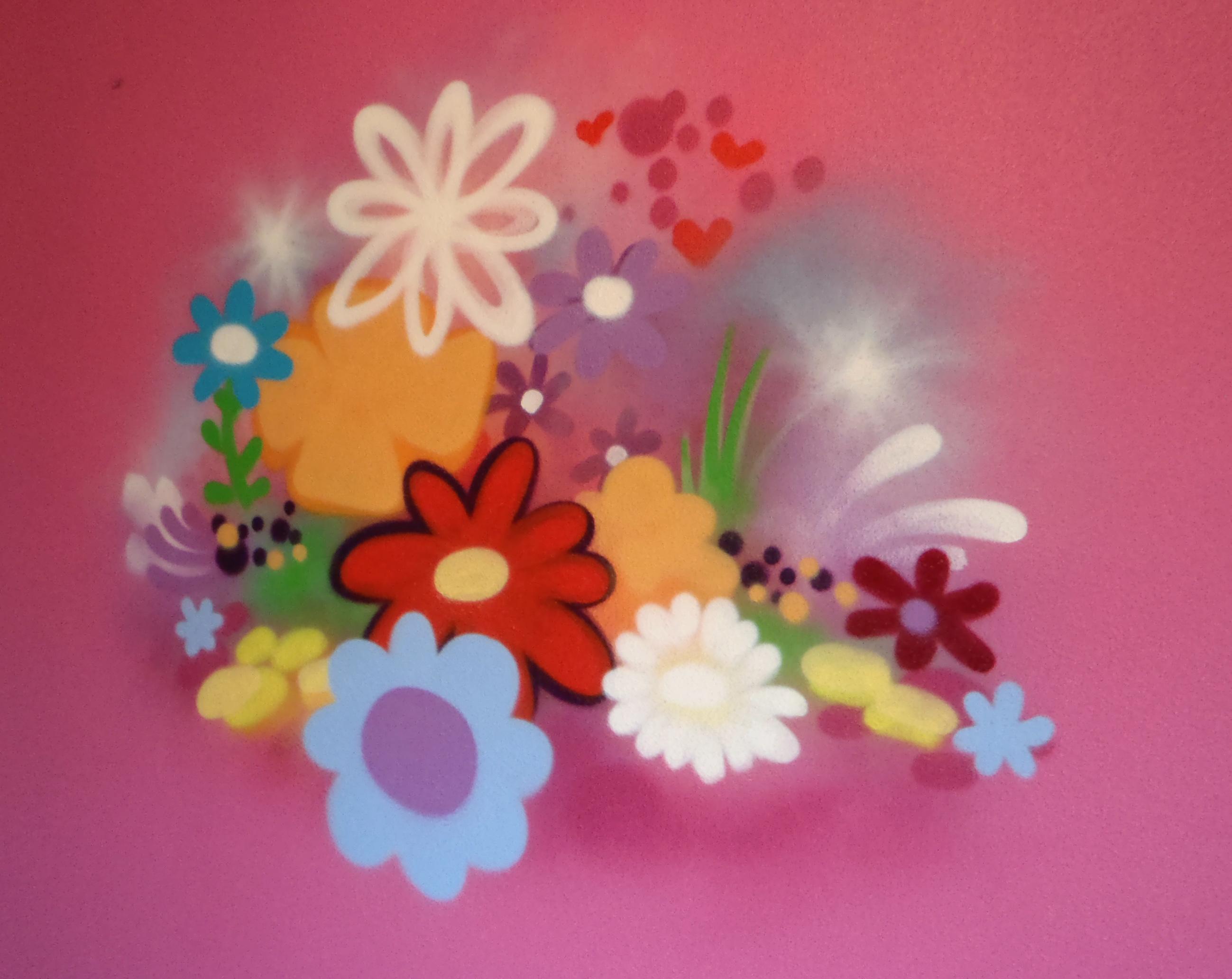 Roze Slaapkamer Volwassenen : Roze muur bloemen muurschilderingen graffiti