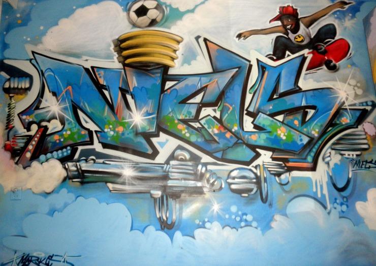 Niels motor-graffiti , korfbal, skateboarding | Muurschilderingen ... Child